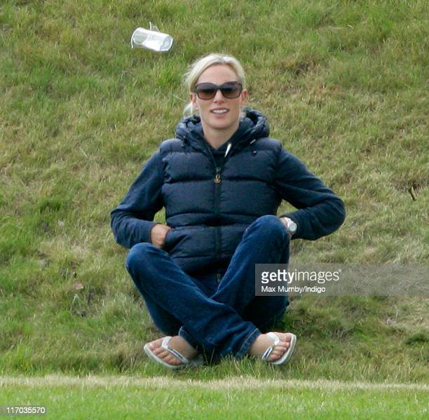 Zara Phillips watches Prince Harry compete in the Bernard Weatherill Cup charity polo match at Beaufort Polo Club on June 19 2011 in Tetbury England