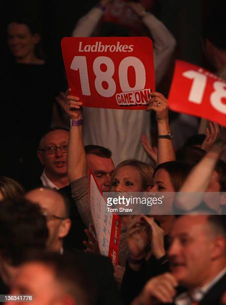 Zara Phillips watches the darts during the Final of the World Darts Championships at Alexandra Palace on January 2 2012 in London England