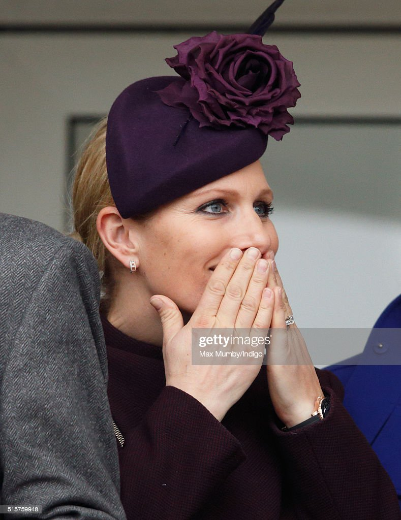 Zara Phillips watches the racing as she attends day 1 of the Cheltenham Festival on March 15, 2016 in Cheltenham, England.