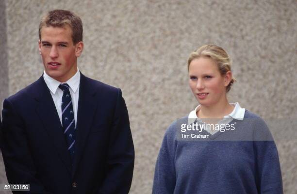 Zara Phillips With Her Brother Peter Phillips At Their School Gordonstoun Wearing School Uniform