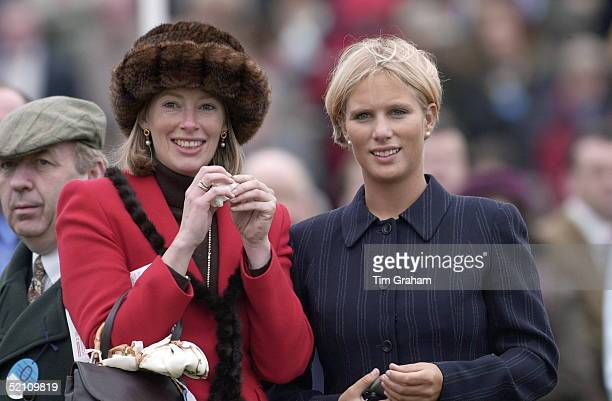 Zara Phillips With Zara Plunketternleerledrax [tiggy Leggebourke's Sister ] Watching The Horse Racing On Gold Cup Day At Cheltenham In Gloucestershire