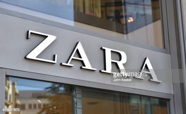 Zara retail shop sign above the entrance on Oxford Street on June 11 2018 in London England