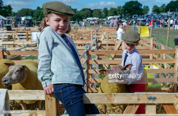 Zara Teasdale and her brother Alfie Teasdale stand in the pens with their sheep before competing during 152nd the Ryedale Country Show on July 31...