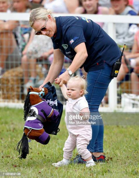 Zara Tindall and daughter Lena Tindall attend day 2 of the 2019 Festival of British Eventing at Gatcombe Park on August 3, 2019 in Stroud, England.