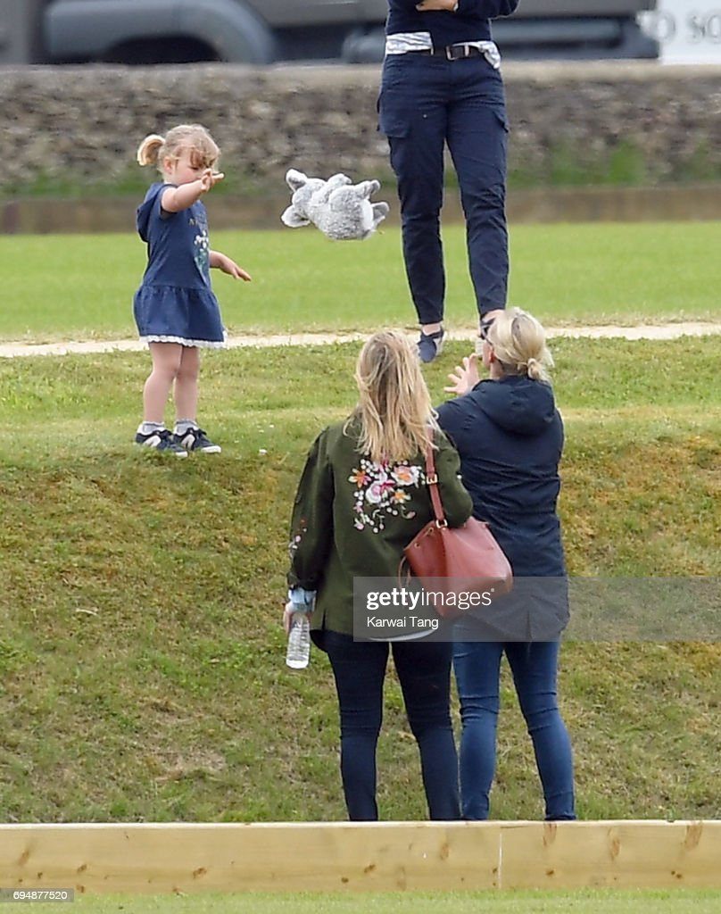 Zara Tindall and daughter Mia at the Maserati Royal Charity Polo Trophy at Beaufort Polo Club on June 11, 2017 in Tetbury, England.