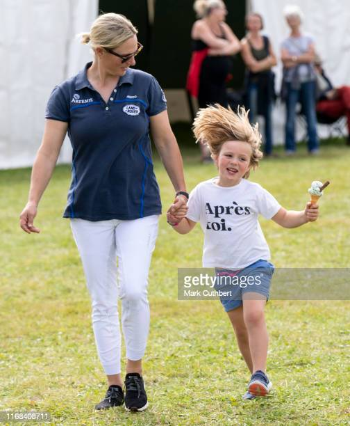 Zara Tindall and Mia Tindall at The Gatcombe Horse Trials at Gatcombe Park on September 15, 2019 in Stroud, England.