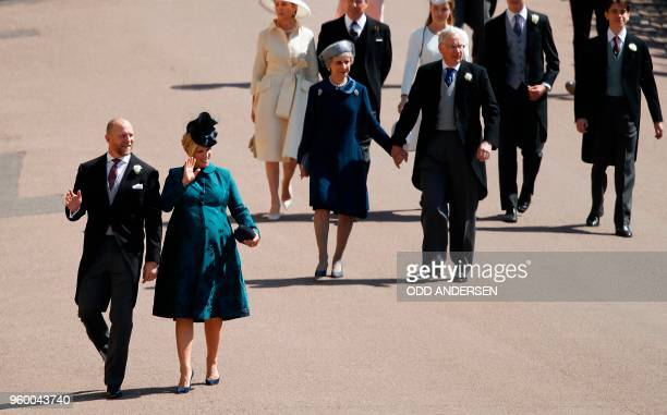 Zara Tindall and Mike Tindall arrive ahead of Britain's Prince Richard Duke of Gloucester and Britain's Birgitte Duchess of Gloucester arrive for the...