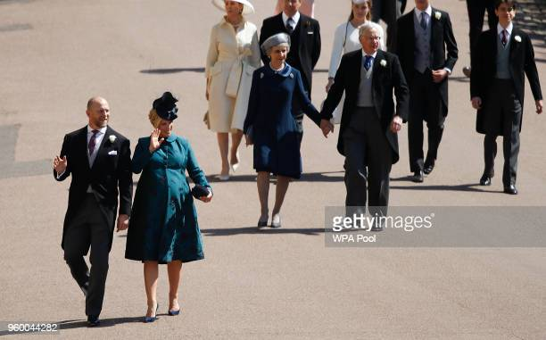 Zara Tindall and Mike Tindall arrive ahead of Prince Richard Duke of Gloucester and Birgitte Duchess of Gloucester for the wedding ceremony of...