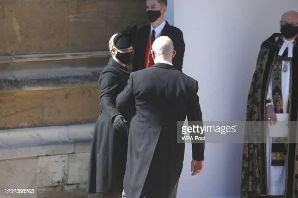 Zara Tindall and Mike Tindall arrive at the Galilee Porch of St George's Chapel for the funeral of Prince Philip, Duke of Edinburgh, at Windsor...