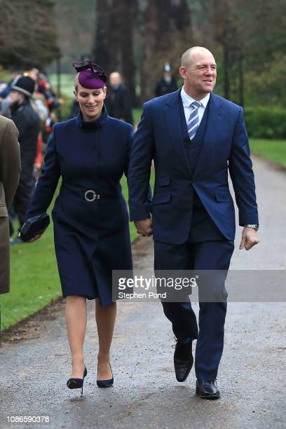 Zara Tindall and Mike Tindall attend Christmas Day Church service at Church of St Mary Magdalene on the Sandringham estate on December 25 2018 in...