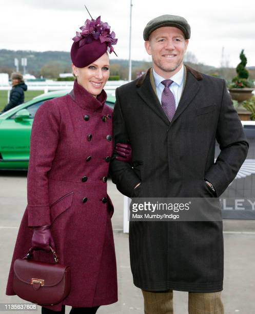 Zara Tindall and Mike Tindall attend day 2 'Ladies Day' of the Cheltenham Festival at Cheltenham Racecourse on March 13 2019 in Cheltenham England