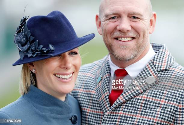 Zara Tindall and Mike Tindall attend day 3 'St Patrick's Thursday' of the Cheltenham Festival 2020 at Cheltenham Racecourse on March 12, 2020 in...