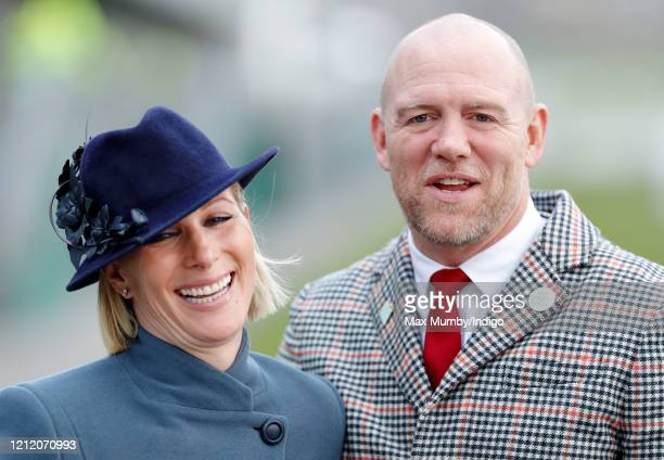Zara Tindall and Mike Tindall attend day 3 'St Patrick's Thursday' of the Cheltenham Festival 2020 at Cheltenham Racecourse on March 12 2020 in...