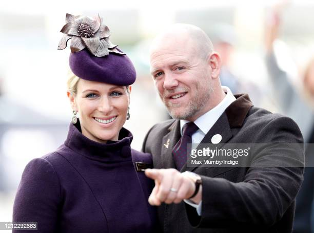Zara Tindall and Mike Tindall attend day 4 'Gold Cup Day' of the Cheltenham Festival 2020 at Cheltenham Racecourse on March 13 2020 in Cheltenham...