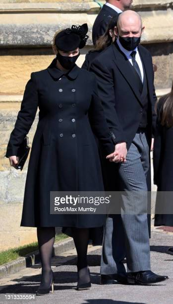 Zara Tindall and Mike Tindall attend the funeral of Prince Philip, Duke of Edinburgh at St. George's Chapel, Windsor Castle on April 17, 2021 in...