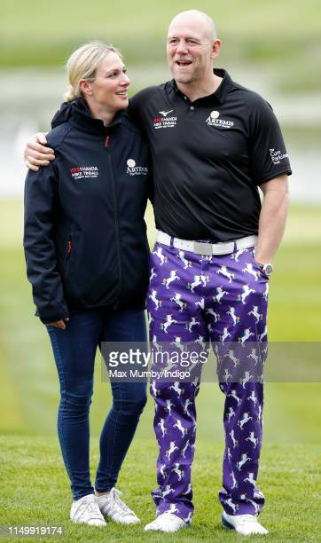 Zara Tindall and Mike Tindall attend the ISPS Handa Mike Tindall Celebrity Golf Classic at The Belfry on May 17, 2019 in Sutton Coldfield, England.