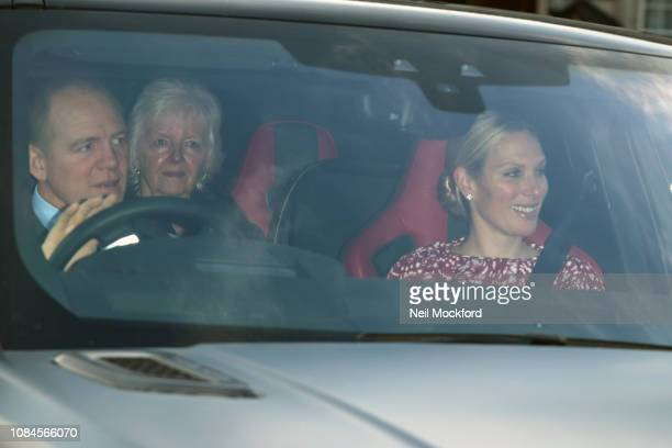 Zara Tindall and Mike Tindall depart Buckingham Palace after the Queen's Christmas Lunch on December 19 2018 in London England