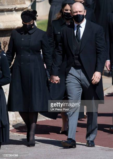 Zara Tindall and Mike Tindall during the funeral of Prince Philip, Duke of Edinburgh on April 17, 2021 in Windsor, England. Prince Philip of Greece...