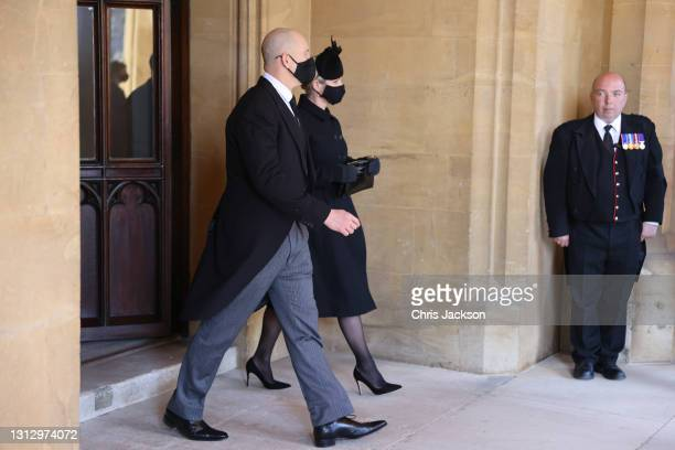 Zara Tindall and Mike Tindall during the funeral of Prince Philip, Duke of Edinburgh at Windsor Castle on April 17, 2021 in Windsor, England. Prince...