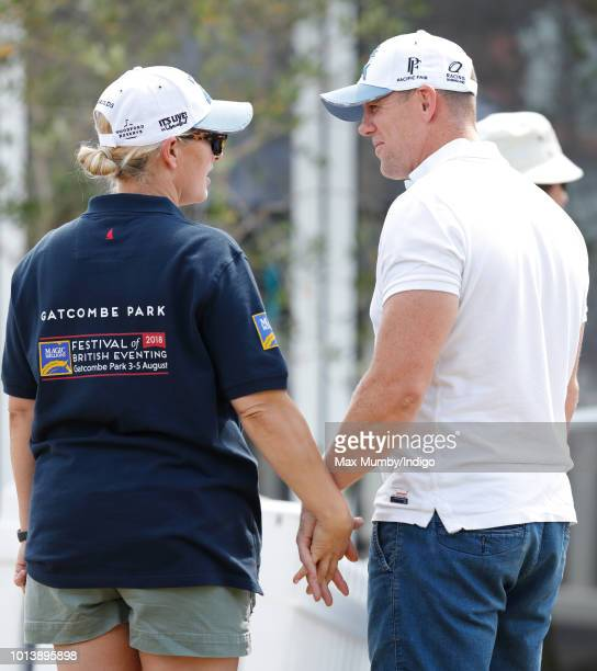 Zara Tindall and Mike Tindall hold hands as they attend day 3 of The Festival of British Eventing at Gatcombe Park on August 5 2018 in Stroud England