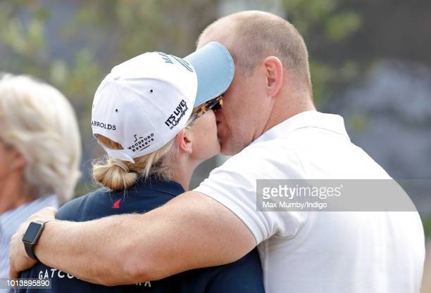 Zara Tindall and Mike Tindall kiss as they attend day 3 of The Festival of British Eventing at Gatcombe Park on August 5 2018 in Stroud England