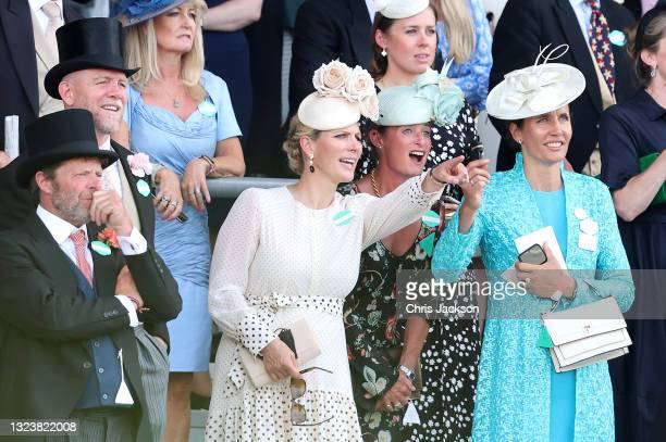 Zara Tindall and Mike Tindall watch the racing during Royal Ascot 2021 at Ascot Racecourse on June 15, 2021 in Ascot, England.