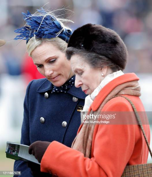 Zara Tindall and Princess Anne Princess Royal attend day 1 'Champion Day' of the Cheltenham Festival 2020 at Cheltenham Racecourse on March 10 2020...