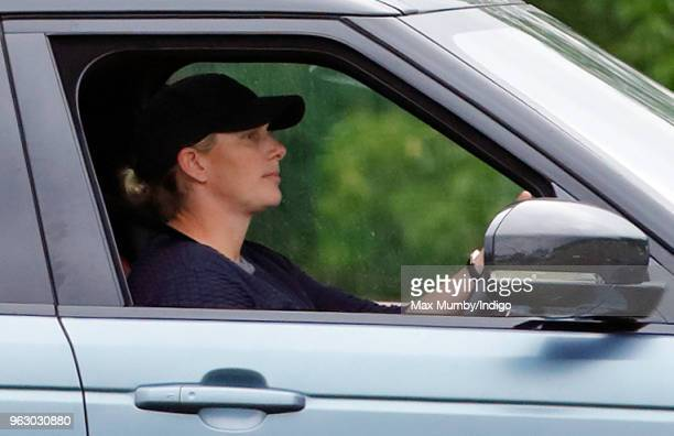 Zara Tindall arrives, driving her Range Rover, to watch her cousin Prince William, Duke of Cambridge play in the Jerudong Trophy charity polo match...