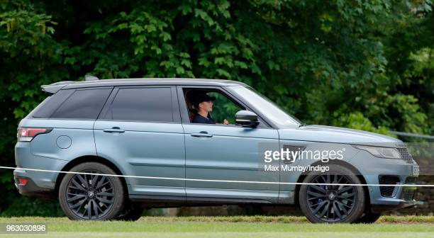 Zara Tindall arrives driving her Range Rover to watch her cousin Prince William Duke of Cambridge play in the Jerudong Trophy charity polo match at...