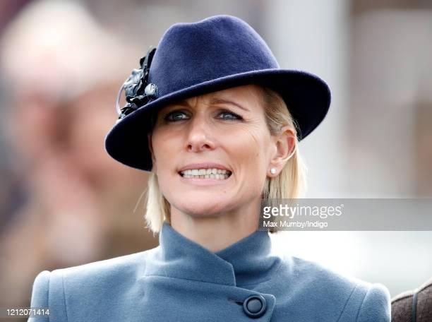 Zara Tindall attends day 3 'St Patrick's Thursday' of the Cheltenham Festival 2020 at Cheltenham Racecourse on March 12, 2020 in Cheltenham, England.