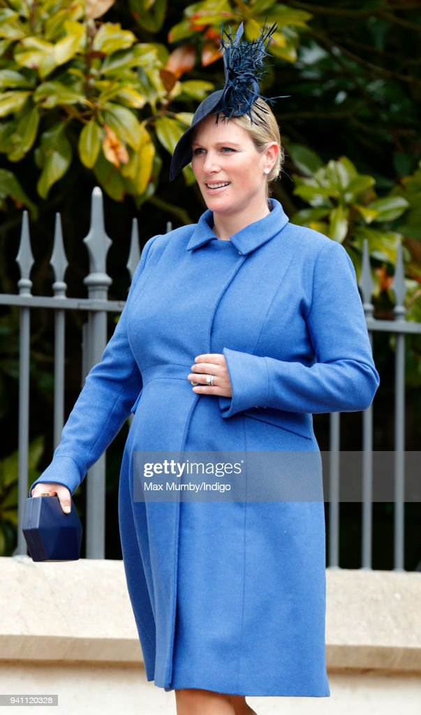 Zara Tindall attends the traditional Easter Sunday church service at St George's Chapel, Windsor Castle on April 1, 2018 in Windsor, England.
