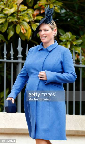Zara Tindall attends the traditional Easter Sunday church service at St George's Chapel Windsor Castle on April 1 2018 in Windsor England