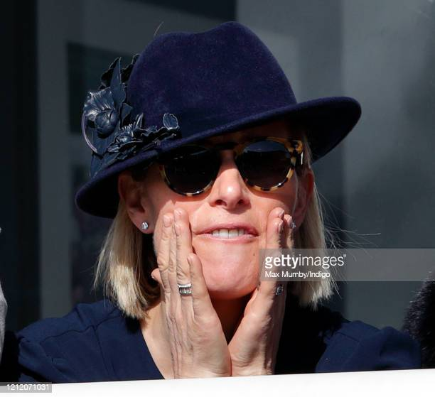 Zara Tindall cheers as she watches the racing on day 3 'St Patrick's Thursday' of the Cheltenham Festival 2020 at Cheltenham Racecourse on March 12,...