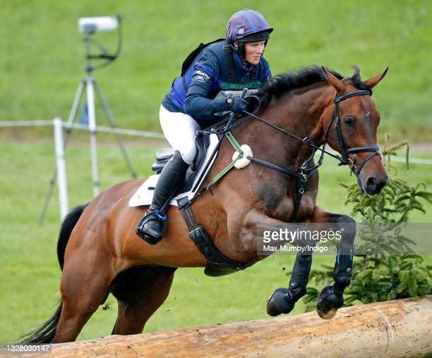Zara Tindall competes, on her grandmother Queen Elizabeth II's horse 'Twinkle', in the cross country phase of the Barbury Castle International Horse...