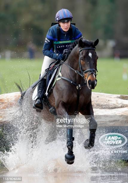 Zara Tindall competes on her horse 'Gladstone' in the cross country phase of the Gatcombe Horse Trials at Gatcombe Park on March 23, 2019 in Stroud,...