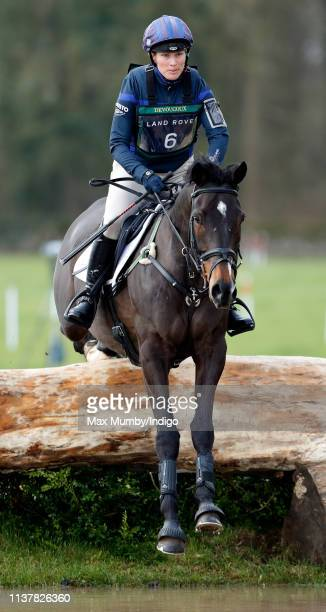 Zara Tindall competes on her horse 'Gladstone' in the cross country phase of the Gatcombe Horse Trials at Gatcombe Park on March 23 2019 in Stroud...