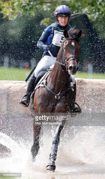 Zara Tindall enters the water jump as she competes in the cross country phase on her horse 'Gladstone' of the Whatley Manor Horse Trials at Gatcombe...