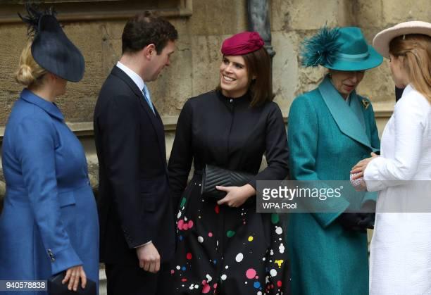 Zara Tindall Jack Brooksbank Princess Eugenie Princess Anne Princess Royal and Princess Beatrice arrive for the Easter Mattins Service at St George's...