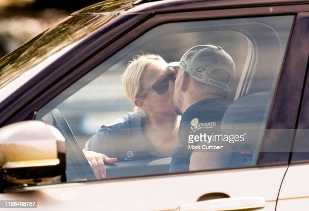 Zara Tindall kisses Mike Tindall goodbye at The Gatcombe Horse Trials at Gatcombe Park on September 15, 2019 in Stroud, England.