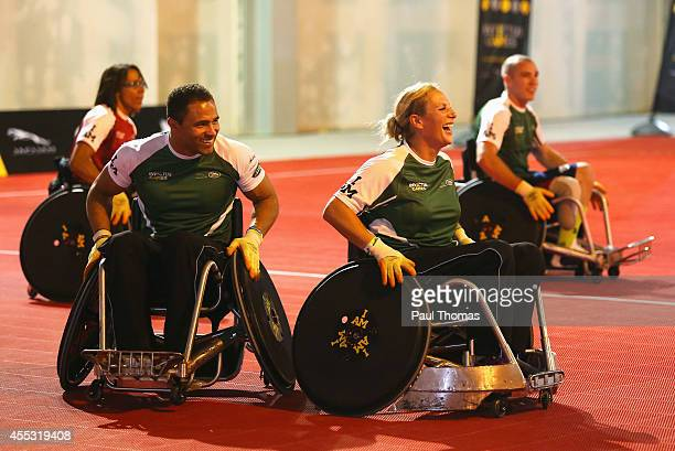 Zara Tindall laughs with Jason Robinson during a training session for the Jaguar Land Rover Exhibition Wheelchair Rugby Match on day 2 of the...