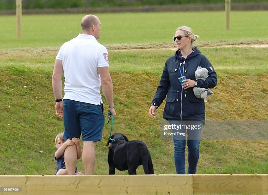 Zara Tindall (R), Mike Tindall and daughter Mia attend the Maserati Royal Charity Polo Trophy at Beaufort Polo Club on June 11, 2017 in Tetbury, England.