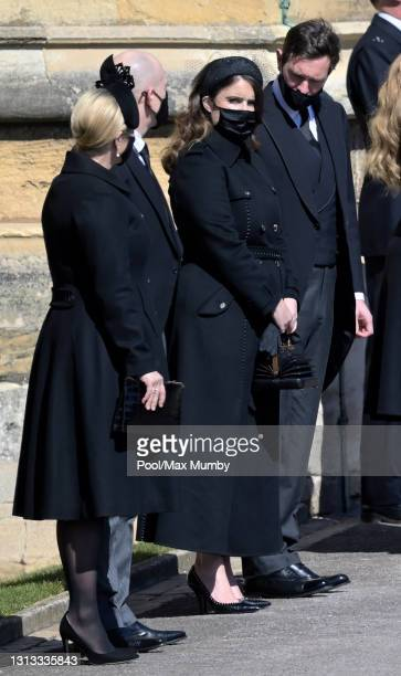 Zara Tindall, Mike Tindall, Princess Eugenie and Jack Brooksbank attend the funeral of Prince Philip, Duke of Edinburgh at St. George's Chapel,...