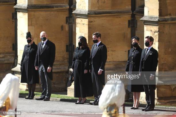Zara Tindall, Mike Tindall, Princess Eugenie, Jack Brooksbank, Princess Beatrice and Edoardo Mapelli Mozzi watch the Ceremonial Procession during the...