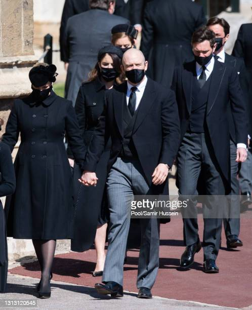 Zara Tindall, Mike Tindall, Princess Eugenie, Jack Brooksbank, Princess Beatrice and Edoardo Mapelli Mozzi during the funeral of Prince Philip, Duke...