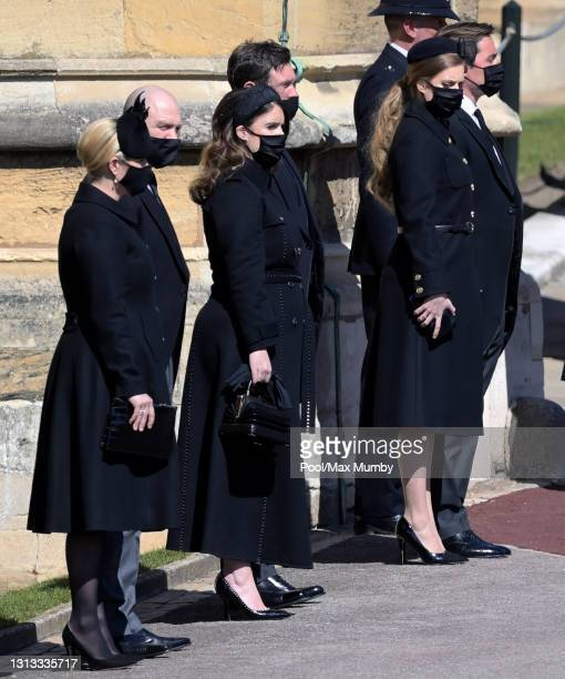 Zara Tindall, Mike Tindall, Princess Eugenie, Jack Brooksbank, Princess Beatrice and Edoardo Mapelli Mozzi attend the funeral of Prince Philip, Duke...