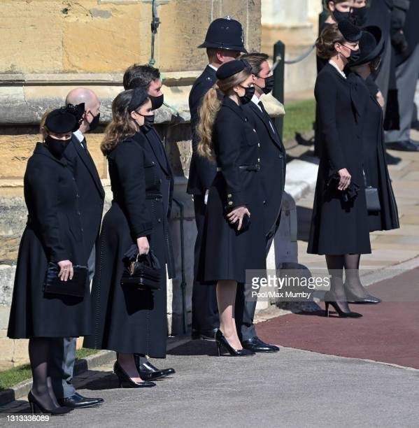 Zara Tindall, Mike Tindall, Princess Eugenie, Jack Brooksbank, Princess Beatrice, Edoardo Mapelli Mozzi and Catherine, Duchess of Cambridge attend...
