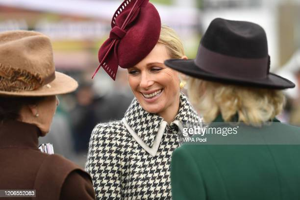Zara Tindall Princess Anne Princess Royal and Camilla Duchess of Cornwall attend Ladies Day at the Cheltenham Festival at Cheltenham Racecourse on...
