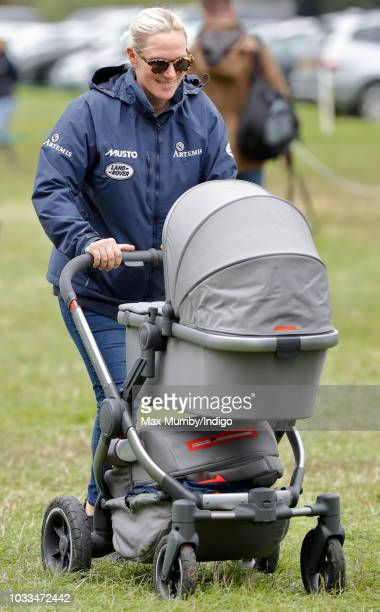 Zara Tindall pushes baby daughter Lena Tindall in her buggy as she attends the Whatley Manor Horse Trials at Gatcombe Park on September 8 2018 in...