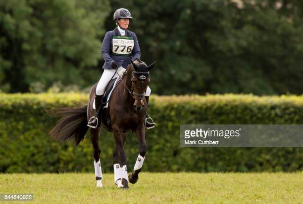 Zara Tindall riding Gladstone at the Whatley Manor Horse Trials at Gatcombe Park on September 9 2017 in Stroud England