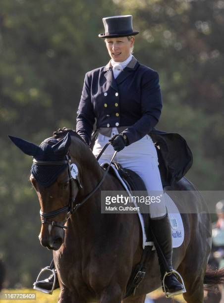 Zara Tindall riding Gladstone competes in the Dressage at The Gatcombe Horse Trials at Gatcombe Park on September 13, 2019 in Stroud, England.